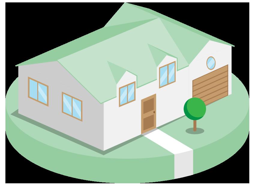 Illustration d'une maison-modèle sur un sous-verre